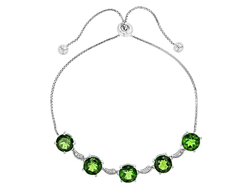 "Photo of 5.09ctw Russian Chrome Diopside & White Zircon Silver Bolo Bracelet Adjusts Approximately 6"" To 9"" - Size 7.25"