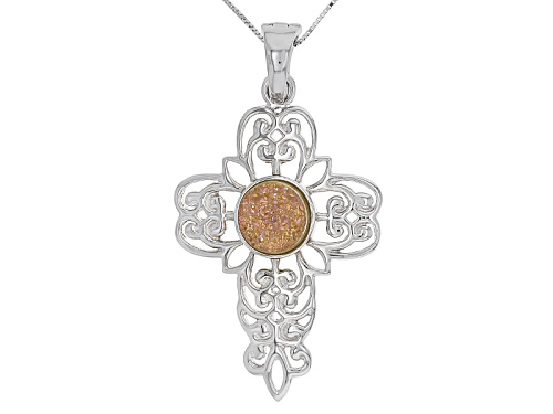 Photo of 12mm Round Chinese Spanish Rose Drusy Quartz Sterling Silver Cross Enhancer With Chain