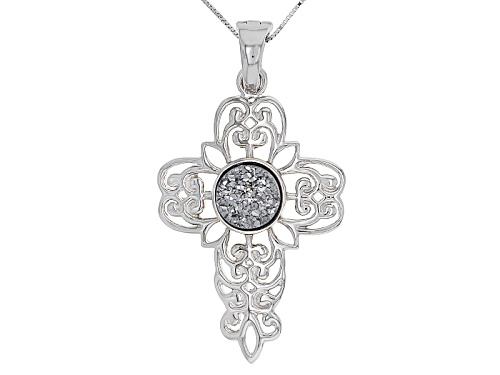 Photo of 12mm Round Silver Color Drusy Quartz Sterling Silver Cross Enhancer With Chain