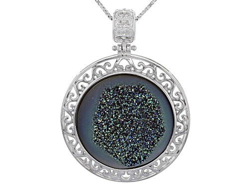 Photo of 22mm Round Green Drusy Quartz Sterling Silver Pendant With Chain