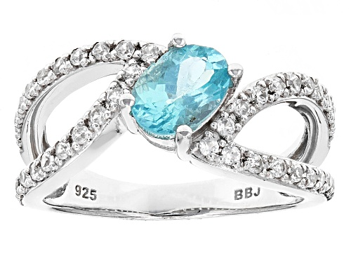 Photo of .65ct Oval Paraiba Color Apatite With .34ctw Round White Zircon Sterling Silver Ring - Size 7