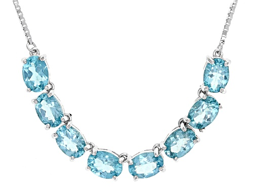 "Photo of 5.20ctw Oval Paraiba Blue Color Apatite Sterling Silver Bolo Necklace, Adjusts To Approximately 28"" - Size 28"