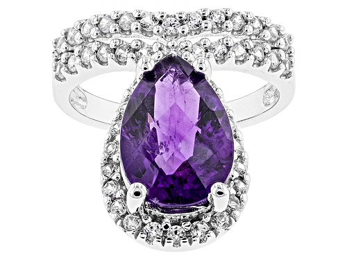 Photo of 2.92ct Pear Shape African Amethyst With .83ctw Round White Zircon Sterling Silver Ring - Size 11