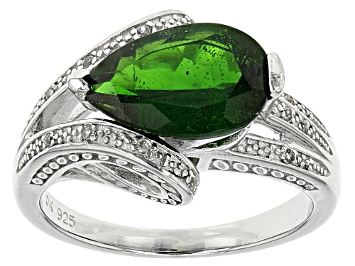 Photo of 2.21ct Pear Shape Chrome Diopside With .06ctw Round White Zircon Sterling Silver Ring - Size 11