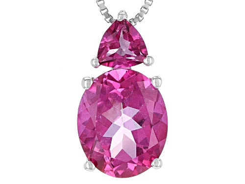 Photo of 4.31ctw Oval And Trillion Pure Pink™ Topaz Sterling Silver Pendant With Chain