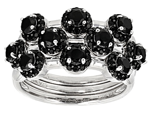 Photo of 1.80ctw Round Black Spinel Sterling Silver Stackable Three Ring Set - Size 6