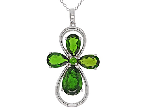 Photo of 6.25ctw Pear Shape And Round Russian Chrome Diopside Sterling Silver Cross Pendant With Chain