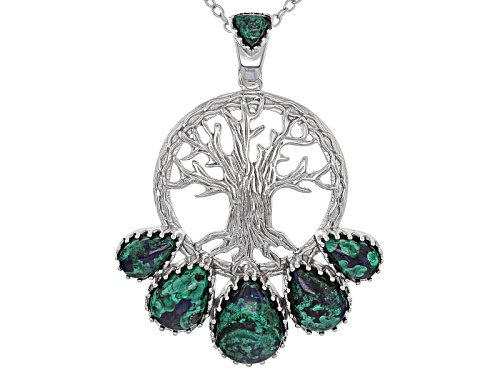 Photo of Pear Shape And Trillion Cabochon Azurmalachite Silver Tree Of Life Enhancer/Pendant With Chain