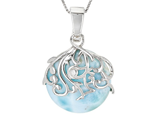 Photo of 22mm Round Cabochon Larimar With .01ct Round White Zircon Sterling Silver Enhancer With Chain