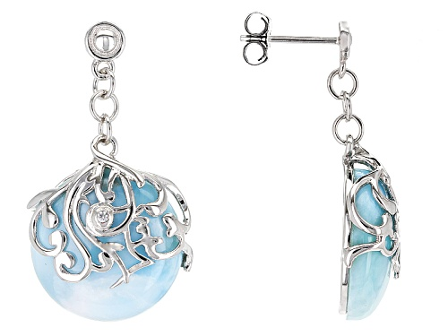 Photo of 16mm Round Cabochon Larimar With .01ctw Round White Zircon Sterling Silver Dangle Earrings