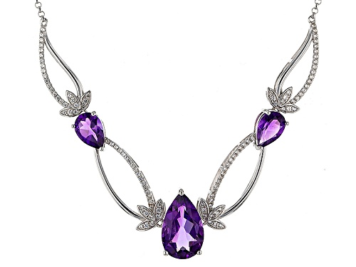6.31ctw Pear Shape African Amethyst With .86ctw Round White Zircon Sterling Silver Necklace - Size 18