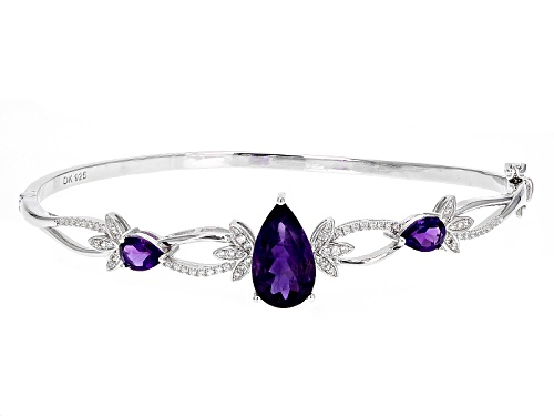 Photo of 5.44ctw Pear Shape African Amethyst And .50ctw Round White Zircon Sterling Silver Bangle Bracelet - Size 8