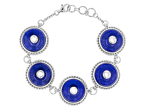 Photo of 17mm Round Cabochon Lapis Lazuli Sterling Silver 5-Stone Bracelet - Size 7.25