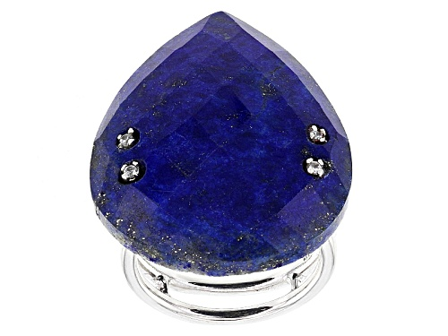 32x25mm Pear Shape Checkerboard Cut Lapis Lazuli With .13ctw Round White Zircon Sterling Silver Ring - Size 6