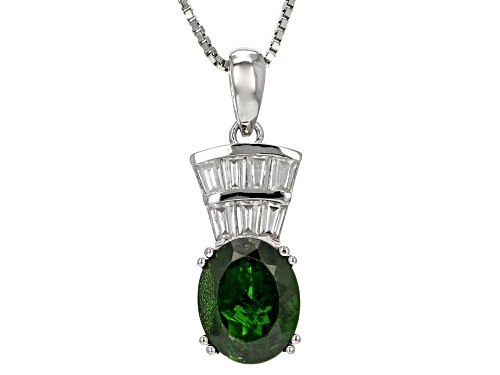 Photo of 2.29ct Oval Russian Chrome Diopside With .70ctw Baguette White Zircon Silver Pendant With Chain
