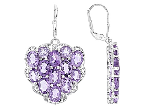 Photo of 14.97ctw Oval And Round African Amethyst Sterling Silver  Heart Shape Dangle Earrings