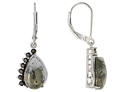Photo of 12x8mm Pear Shape Cabochon Pyrite With .47ctw Round Smoky Quartz Sterling Silver Dangle Earrings