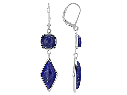 Photo of 16x8mm Fancy Lozenge And 7mm Square Cushion Cabochon Lapis Lazuli Silver 2-Stone Dangle Earrings
