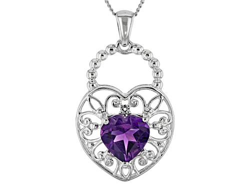 Photo of 1.45ct Heart Shape Uruguay Amethyst With .03ctw White Topaz Sterling Silver Pendant With Chain
