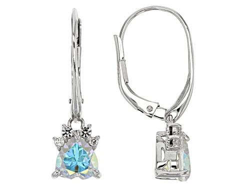 Photo of 2.50ctw Heart Shape Mercury Mist(R) Mystic Topaz® & .36ctw White Topaz Silver Paw Print Earrings