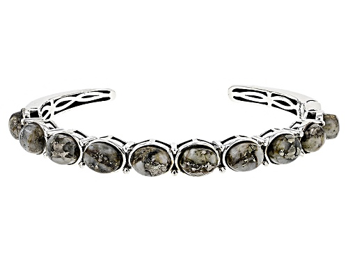 Photo of 9x7mm Oval Cabochon Pyrite Sterling Silver Cuff Bracelet - Size 7.25