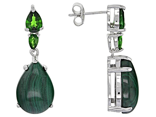 16x12mm Pear Shape Malachite & 1.65ctw  Russian Chrome Diopside Rhodium Over Silver Dangle Earrings