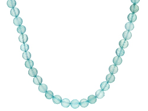 Photo of 5.5mm-6.5mm Round Aqua Color Blue Chalcedony Bead Sterling Silver Necklace - Size 20