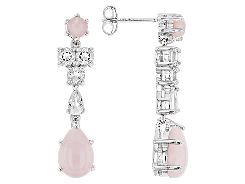 Photo of Mixed Shape Cabochon Peruvian Pink Opal With 1.48ctw Mixed Shape White Topaz Silver Dangle Earrings