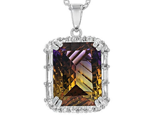 Photo of 8.85ct Rectangular Lab Created Ametrine With 1.11ctw White Topaz Silver Pendant With Chain