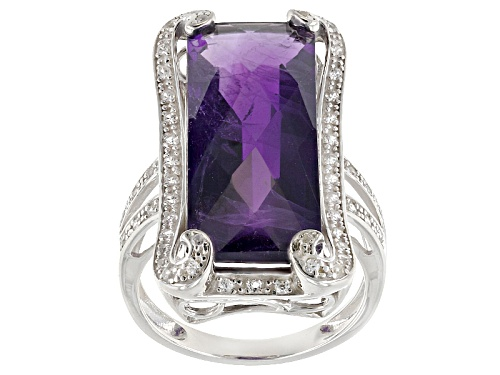 Photo of 11.90ct Rectangular Criss-Cross Cut African Amethyst With .47ctw White Zircon Sterling Silver Ring - Size 5