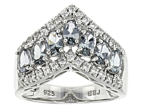 Photo of 1.40ctw Oval Platinum Color Spinel With .24ctw Round White Zircon Sterling Silver Chevron Band Ring - Size 8