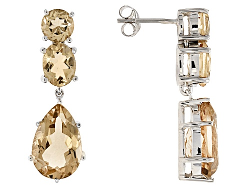 Photo of 10.22ctw Pear Shape, Oval And Round Champagne Quartz  Silver 3-Stone Teardrop Dangle Earrings