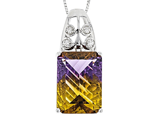 Photo of 12.30ct Rectangular Lab Created Ametrine With .12ctw Round White Zircon Silver Pendant With Chain