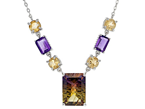 Photo of 5.38ct Rectangular Lab Created Ametrine With 3.28ctw Amethyst And Citrine Adjustable Silver Necklace - Size 20