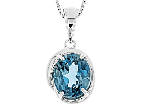 Photo of 3.85ct Oval London Blue Topaz Sterling Silver Solitaire Pendant With Chain
