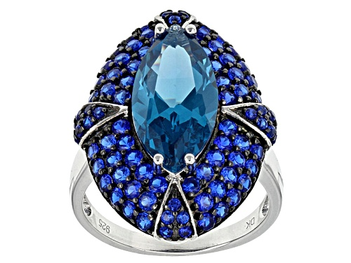 Photo of 5.67ctw Marquise And Round Lab Created Blue Spinel Sterling Silver Ring - Size 5