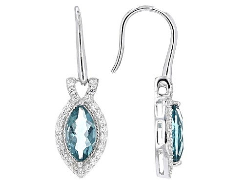 Photo of 2.04ctw Marquise Teal Fluorite With .61ctw Round White Zircon Sterling Silver Dangle Earrings