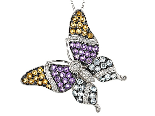 Photo of 4.64ctw Glacier Topaz™, Amethyst, Citrine & White Zircon Silver Butterfly Pendant/Brooch W/Chain