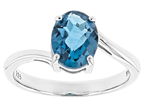 Photo of 1.84ct Oval London Blue Topaz Rhodium Over Sterling Silver Solitaire Ring - Size 9