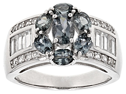Photo of 1.22ctw Platinum color Spinel With 1.07ctw Baguette And Round White Zircon Silver Floral Band Ring - Size 7