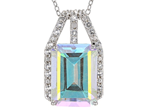 Photo of 8.08ct Mercury Mist® Topaz And .38ctw White Topaz Rhodium Over Silver Slide With Chain