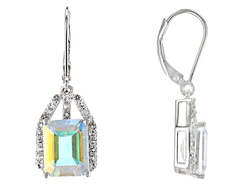 Photo of 7.21ctw Mercury Mist® Topaz And .38ctw White Topaz Rhodium Over Sterling Silver Dangle Earrings