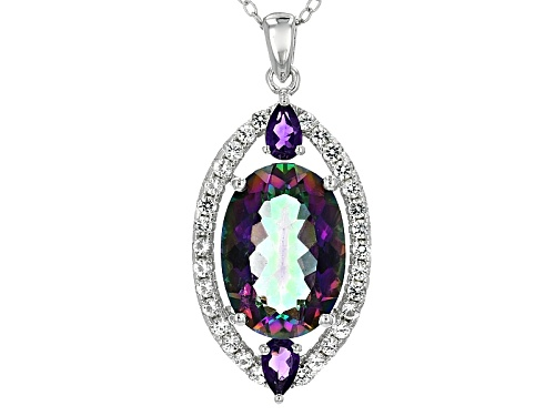 Photo of 4.94ct Multi Color Quartz With .41ctw White Topaz And .31ctw Amethyst Silver Pendant With Chain