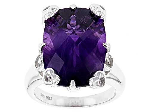 Photo of 11.90ct Rectangular Cushion Checkerboard Cut African Amethyst With .49ctw White Zircon Silver Ring - Size 5