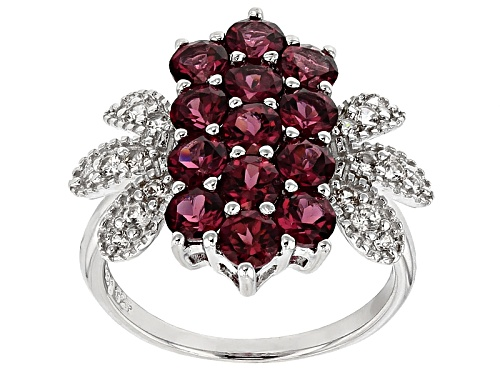 Photo of 2.63ctw Round Raspberry color Rhodolite Garnet With .34ctw Round White Zircon Sterling Silver Ring - Size 6