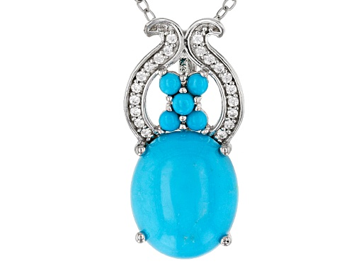 Photo of 12x10mm Oval & 2mm Round Sleeping Beauty Turquoise With .11ctw White Zircon Silver Slide With Chain