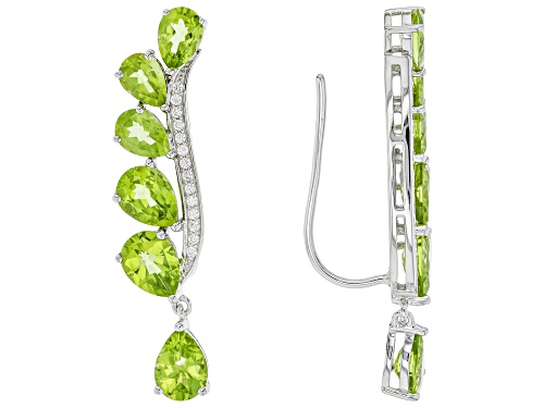 Photo of 10.46ctw Pear Shape Manchurian Peridot™ With .24ctw Round White Zircon Silver Climber Earrings