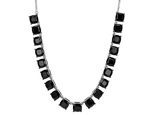 """Photo of 21.96ctw Square Cushion Black Spinel Sterling Silver Bolo Necklace, Adjusts To Approximately 28"""" - Size 28"""