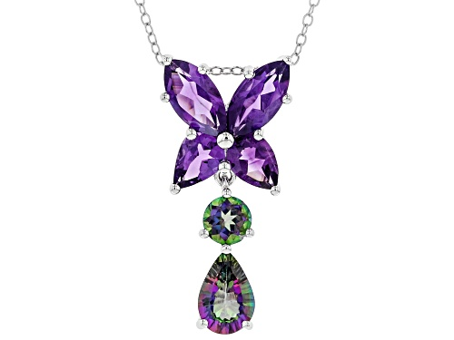 Photo of 1.85ctw Pear Shape & Round Green Mystic Topaz® W/2.72ctw African Amethyst Silver Slide With Chain