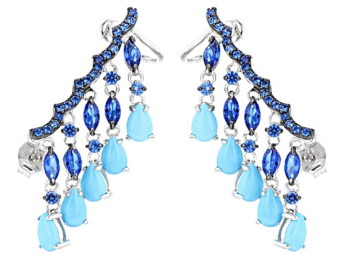 Photo of Pear Shape Sleeping Beauty Turquoise & 1.96ctw Lab Created Blue Spinel Climber Earrings